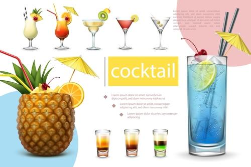 Cocktail 3d illustration vector