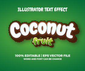 Coconut fruit text style effect vector