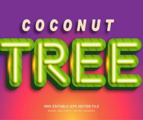 Coconut tree text style effect vector