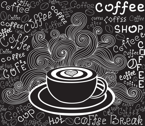 Coffee chalk drawing vector