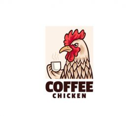 Coffee chicken logo vector