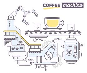 Coffee machine business concept vector