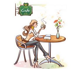 Coffee shop woman illustration vector
