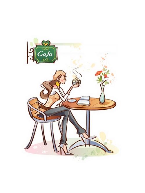 Coffee shop woman illustration vector