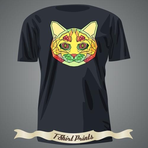 Color animal avatar head t shirts design vector