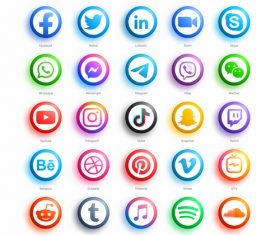 Colorful social media icons vector