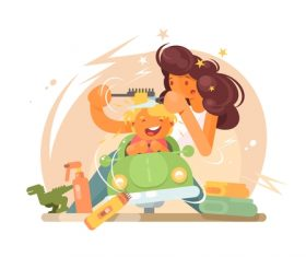 Combing hair for children cartoon illustration vector
