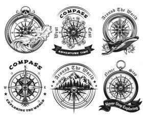 Compass tattoo templates set vector