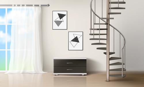 Composite building interior design vector