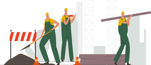 Construction builder teamwork illustration vector
