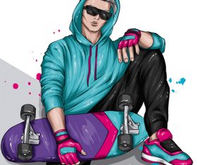 Cool skateboard boy vector