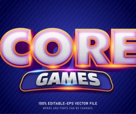 Core game text style effect vector