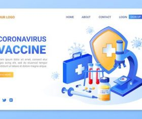 Coronavirus vaccine appointment website page vector