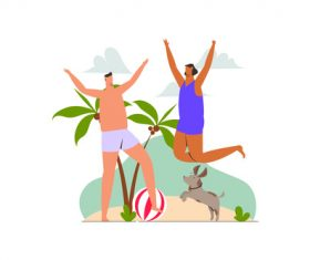 Couple holiday on the beach illustration vector
