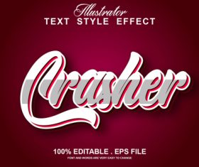 Crasher text style effect vector
