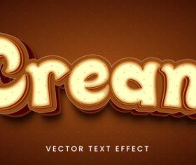 Cream editable font text design vector