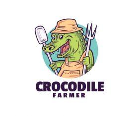 Crocodile farmer logo template vector