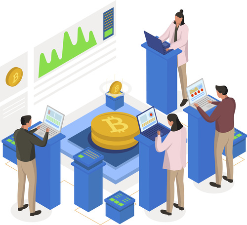 Cryptocurrency mining isometric illustration vector