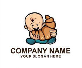 Cute baby logo vector
