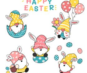 Cute bunny ears gnome easter clip art vector