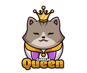 Cute cat queen cartoon vector