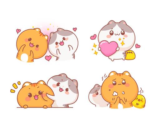 Cute cats set of in love character cartoon illustration vector