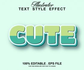 Cute text style effect vector