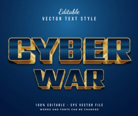 Cyber war vector text style