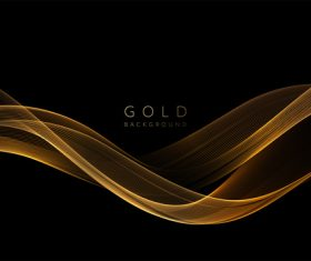 Dark abstract shiny golden wavy background vector