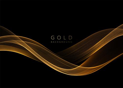 Dark abstract shiny golden wavy background vector