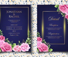 Dark background with roses invitation card vector