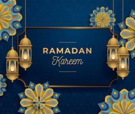 Dark blue background Ramadan Kareem card vector