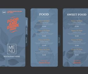 Dark blue background menu card vector