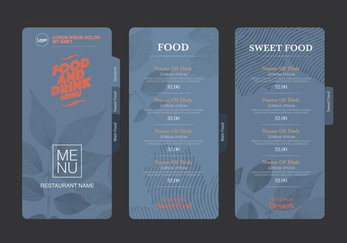Dark blue background menu card vector
