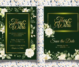 Dark green wedding invitation card vector