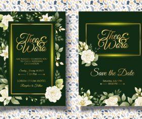 Dark green wedding invitation card vector