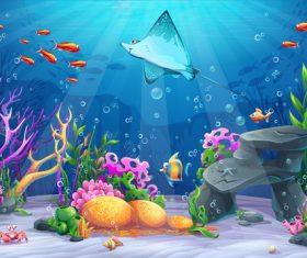 Deep sea ray cartoon vector