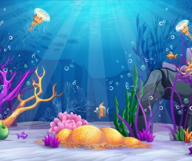 Deep sea world cartoon vector