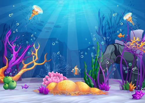 Deep sea world cartoon vector