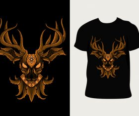 Deer pattern T-shirt printing vector