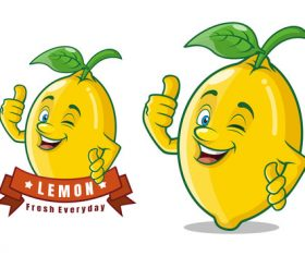 Delicious lemon fruit cartoon character vector