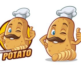 Delicious potato cartoon character mascot design vector