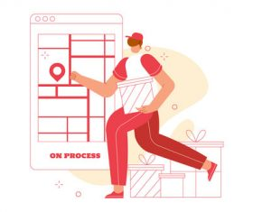 Delivery process vector illustration