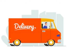 Delivery van illustration vector