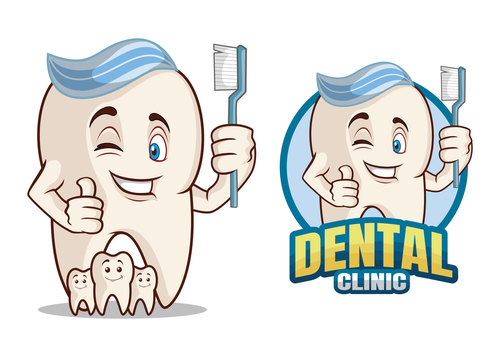 Dental clinic cartoon character design vector