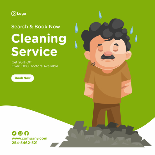 Depressed cleaner cartoon illustration vector
