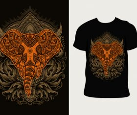 Design elephant pattern T-shirt printing vector