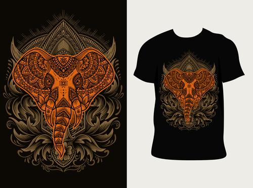 Design elephant pattern T shirt printing vector