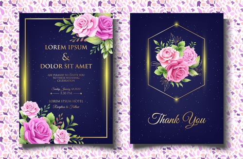Design invitation wedding with roses vector