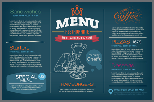 Design restaurant menu cover vector